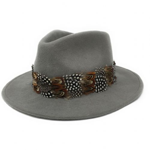 Womens Showerproof Wool Grey Fedora Hat with Country Feather Wrap Trim - Chadlington